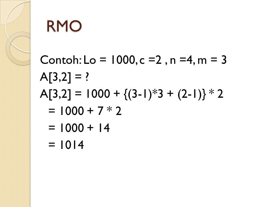 RMO Contoh: Lo = 1000, c =2 , n =4, m = 3 A[3,2] =